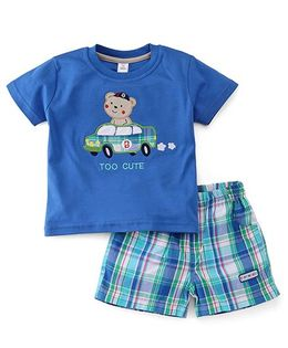 ToffyHouse Half Sleeves T-Shirt With Teddy Patch And Checks Shorts Set - Royal Blue