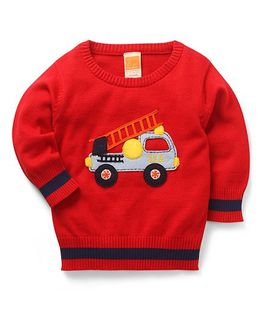 Little Kangaroos Full Sleeves Pullover Sweater Fire Brigade Vehicle Patch - Red