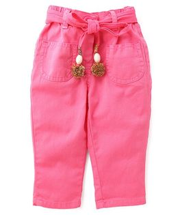 Little Kangaroos Full Length Trouser With Fabric Belt - Pink