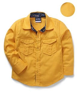 Little Kangaroos Full Sleeves Solid Shirt With Two Flap Pockets - Golden Yellow
