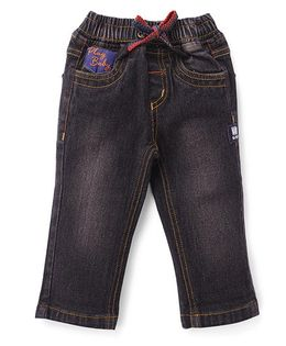 Little Kangaroos Full Length Elasticated Jeans With Drawstring - Black