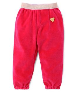 Little Kangaroos Full Length Fleece & Thermal Bottoms With Heart Design - Pink