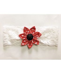 Knotty Ribbons Floral Big Flower Headband - Red