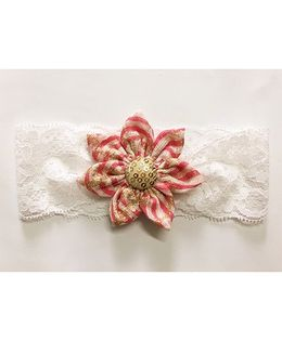 Knotty Ribbons Stripes Big Flower Headband - Pink & Golden
