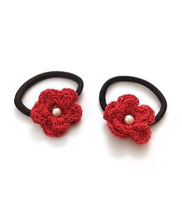 Knotty Ribbons Set of Two Crochet Flower Hair Tie - Red