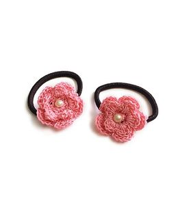 Knotty Ribbons Set of Two Crochet Flower Hair Tie - Light Pink