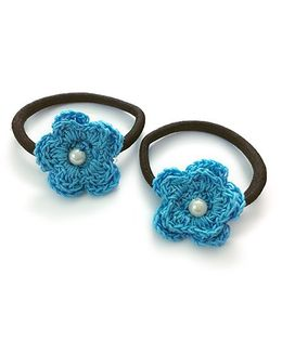 Knotty Ribbons Set of Two Crochet Flower Hair Tie - Blue