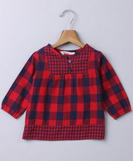 Beebay Full Sleeves Top Checks Pattern - Red & Navy