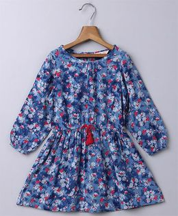 Beebay Full Sleeves Floral Dress With Tassel - Blue