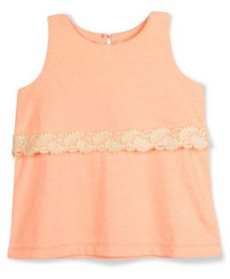 Cherry Crumble California Lace Trim Top - Peach