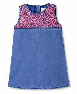 Cherry Crumble California Embroidered Denim Dress - Blue