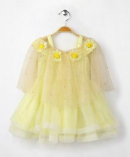 Eiora Party Wear Dress With A Cape - Yellow