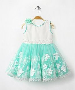 Eiora Sleeveless Party Wear Dress With Flower Applique - Green