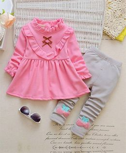 Pre Order - Dells World Frilled Collar Full Sleeves Top With Bow Applique Leggings - Pink & Grey