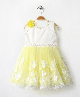Eiora Sleeveless Party Wear Dress With Flower Applique - Yellow