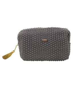 Pluchi  Knitted Small Square Pouch - Dark Grey