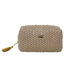 Pluchi  Knitted Small Square Pouch - Golden