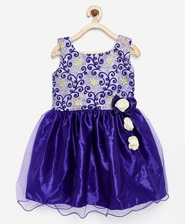 Winakki Kids Embroidered Dress With Bow Applique - Blue