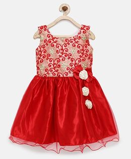 Winakki Kids Embroidered Dress With Bow Applique - Red