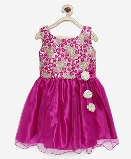 Winakki Kids Embroidered Dress With Bow Applique - Pink