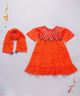 Alpnakids Bandhini Tunic Dress - Orange