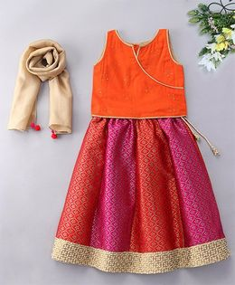 Alpnakids Sleeveless Brocade Lehnga - Orange & Magenta
