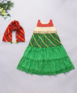 Alpnakids Stylish Lehariya Long Dress - Green & Red