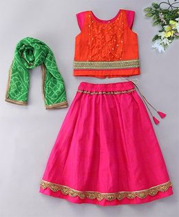 Alpnakids Stylish Lehnga Choli Set - Orange & Rani