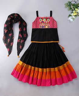 Alpnakids Cotton Twirl Skirt Top Set - Black & Rani