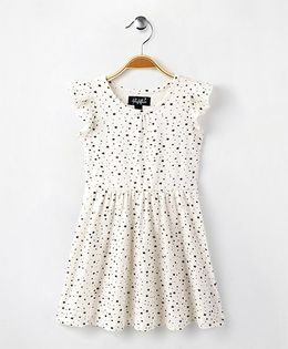 Highflier Star Print Knitted Dress - White