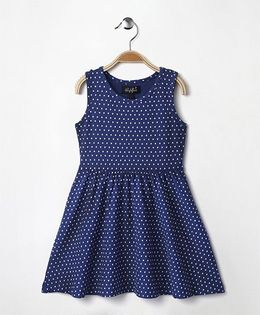 Highflier Heart Print Knitted Dress - Blue