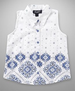 Highflier Front Buttoned Printed Top - White
