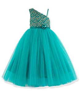 Toy Balloon One Shoulder Gold Embroidered Dress - Aqua Green