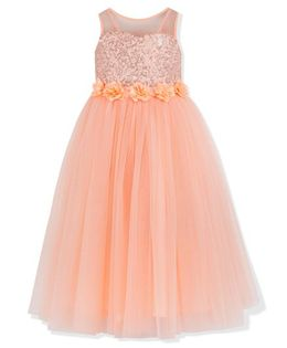 Toy Balloon Sleeveless Sequin Embellished Party Tutu Dress - Peach