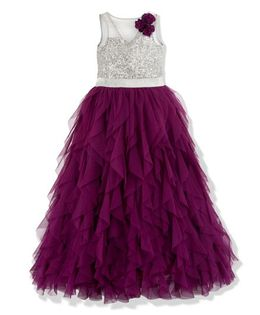 Toy Balloon Sleeveless Sequin Embellished Party Tutu Dress - Purple
