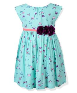 Toy Balloon Cap Sleeves Frock Butterfly Print - Sea Green