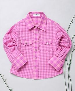 Murphy Mouse Checkered Full Sleeves Shirt - Pink
