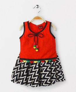 Twisha Cotton Top With Zigzag Print Balloon Skirt - Red and Black