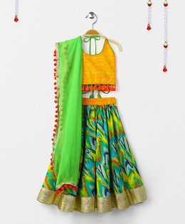 Kids Chakra Printed Ghagra With Backless Choli & Dupatta - Green & Yellow