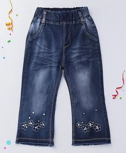 Party Princess Flower Embroidery Jeans With Beads - Blue