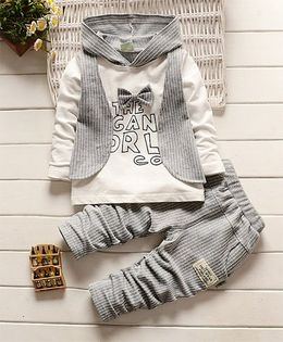 Pre Order - Dells World Bow Design Striped Hoodie With Mock Jacket & Pant - White & Grey