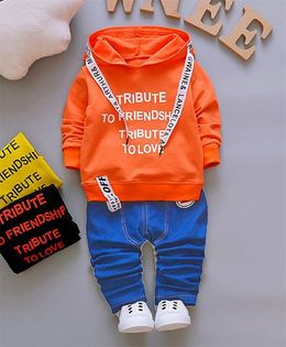 Pre Order - Dells World Smart Ribbon Attached Hoodie Jacket With Pants - Orange & Blue