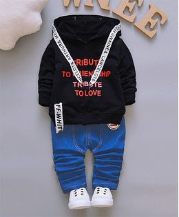 Pre Order - Dells World Smart Ribbon Attached Hoodie Jacket With Pants - Black & Blue