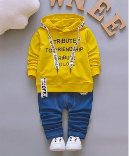 Pre Order - Dells World Smart Ribbon Attached Hoodie Jacket With Pants - Yellow & Blue