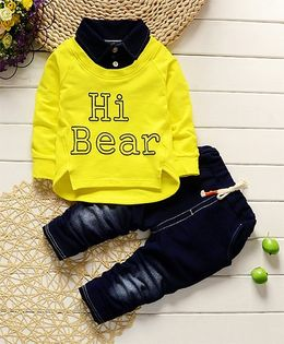 Pre Order - Dells World H Bear Print Stylish Collar Shirt With Pants - Yellow & Blue