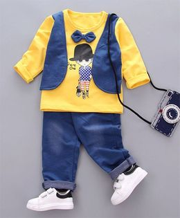 Pre Order - Dells World Bow Design Tee With Mock Jacket & Pant Set - Yellow & Blue