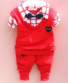 Pre Order - Dells World Heart Design Checkered Shirt Style Sweater With Pant - White & Red