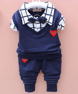 Pre Order - Dells World Heart Design Checkered Shirt Style Sweater With Pant - White & Dark Blue
