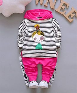 Pre Order - Dells World Cute Doll Print Striped Hoddie With Pant - Pink White & Black
