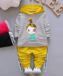 Pre Order - Dells World Cute Doll Print Striped Hoddie With Pant - Yellow White & Black